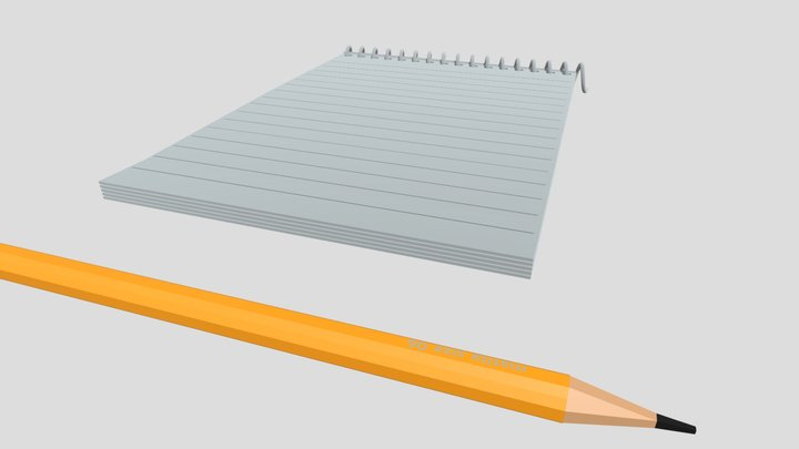 pencil and notepad 3D Model