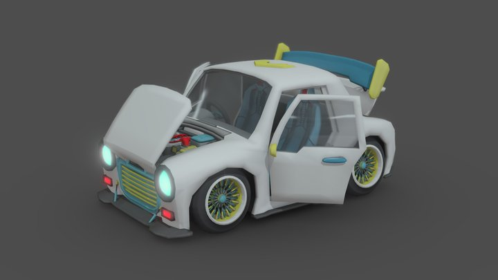 Sylized Hand Painted Cartoon Car 3D Model
