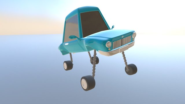 AS Cartoon Car Rigged 3D Model