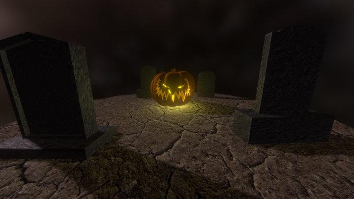 Halloween Jack O' Lantern w/ Animated Candle 3D Model