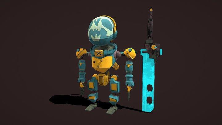Cartoon stylized mini robo-warrior, concept, HP 3D Model
