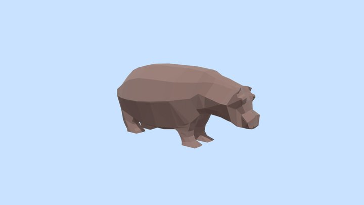 Low poly hippo 3D Model