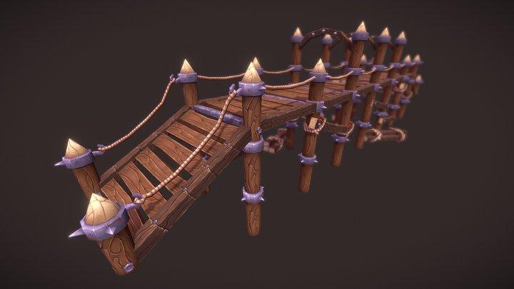 Big Wooden Bridge 3D Model