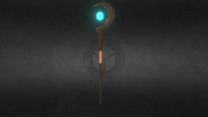 Mage Half-moon Staff 3D Model