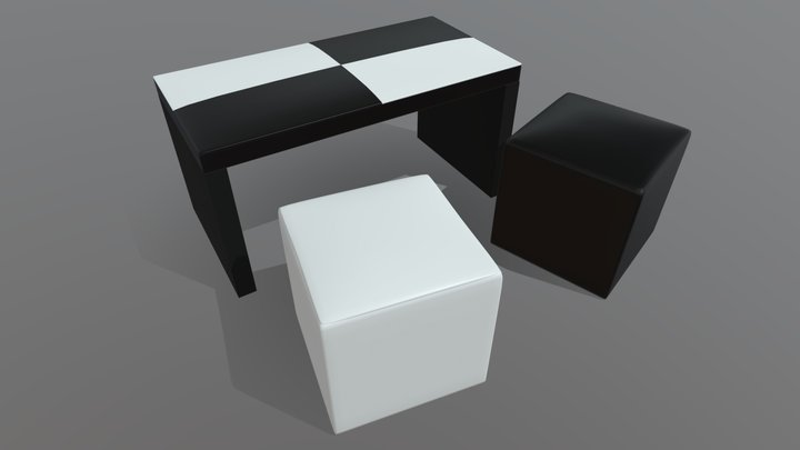 Living table and puff - Mesa ratona y puff 3D Model