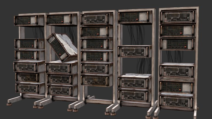 Ruined Computer Racks 3D Model