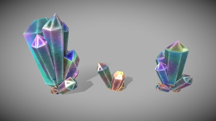 Crystal Cluster 3 Pack 3D Model