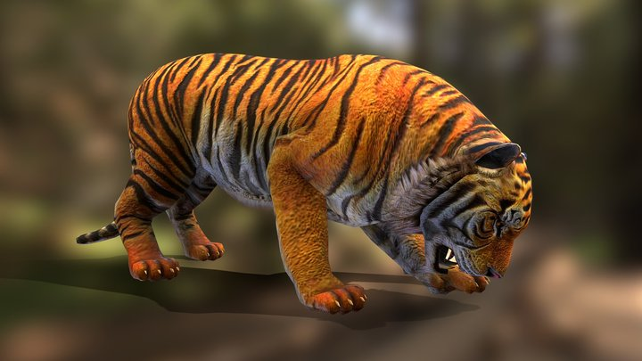 Tiger attack eat v01 3D Model