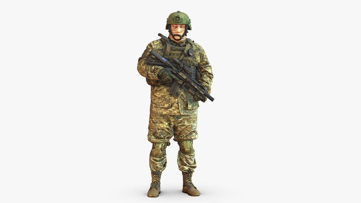 Modern soldier in camouflage honeybadger 001149 3D Model