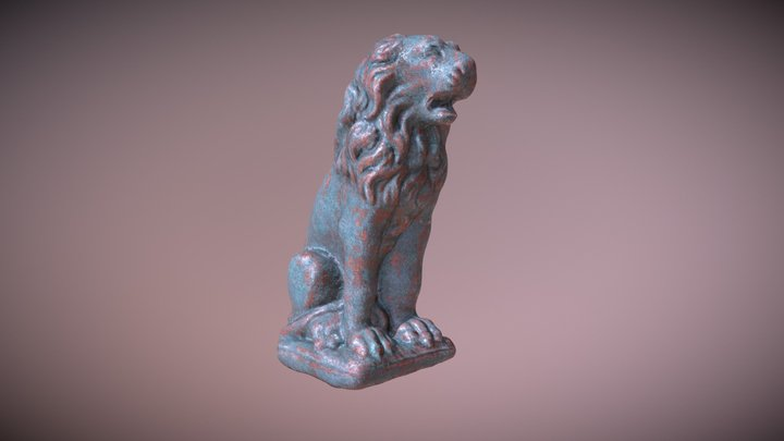 Copper Lion Statue Oxidized 3D Model