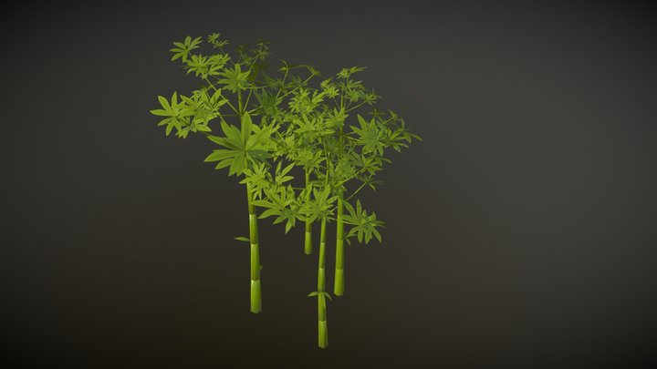 Hand painted cartoon stylized low poly bamboo 3D Model