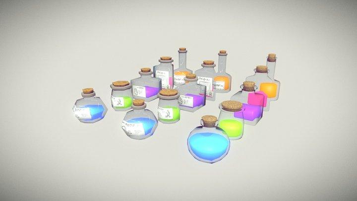 Glass Bottles (3 LODS) Free Pack 3D Model