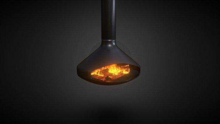 Modern Hanging Fireplace - PBR 3D Model