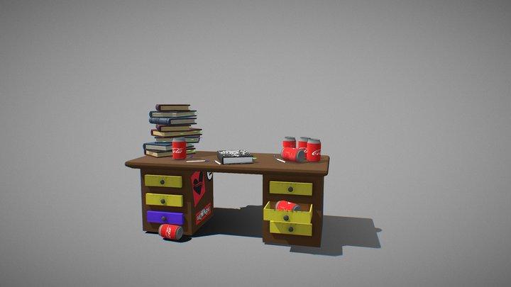 90s Desk Scene 3D Model