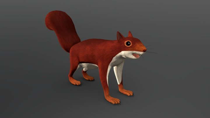 Hand Painted Squirrel (Low Poly) 3D Model