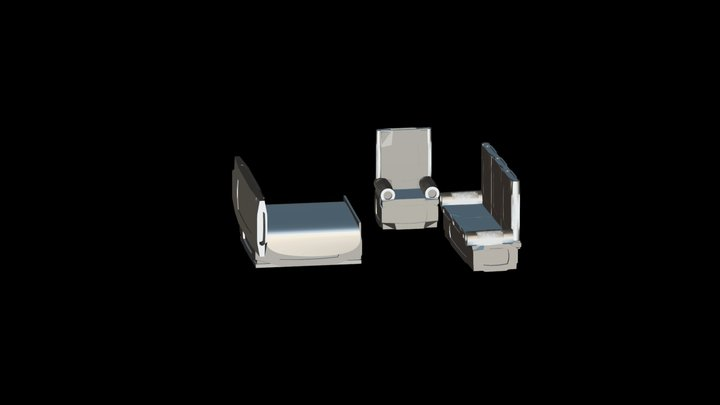 bad and sofa set furniture 3D Model