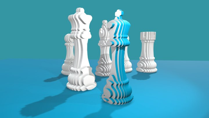 CHESS PIECES on blue background 3D Model