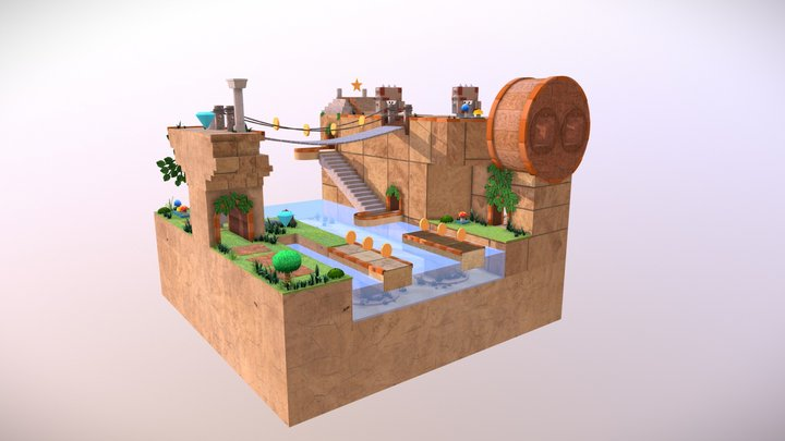 Old Temple Game environment 3D Model