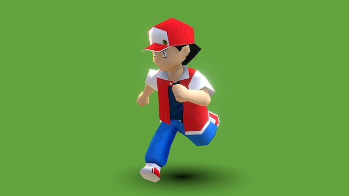 Red from Pokémon 1st Gen 3D Model