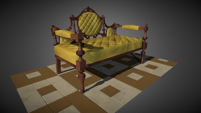 Roccoco Couch 3D Model