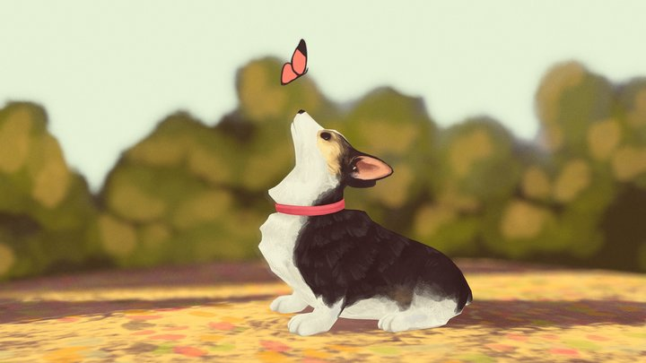 Corgi and the butterfly 3D Model