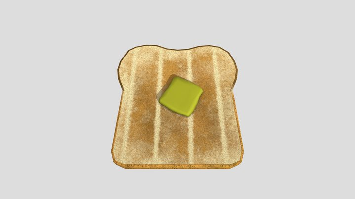 Buttered Toast 3D Model