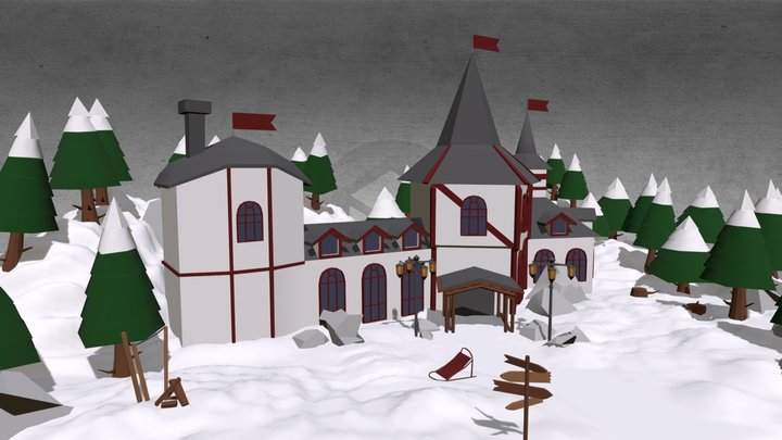 SNOW MANSION LOWPOLY 3D Model