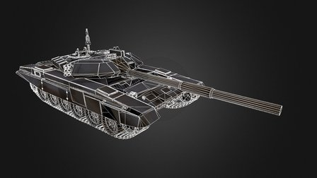 T 90 Russian Tank Low Poly (wireframe) 3D Model