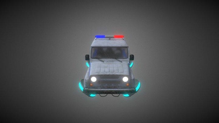 Cyberpunk car Russian police UAZ 3D Model