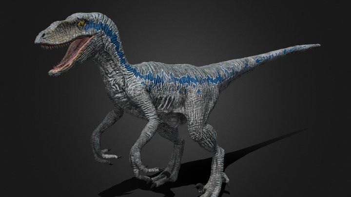 Blue Velociraptor 3D Model