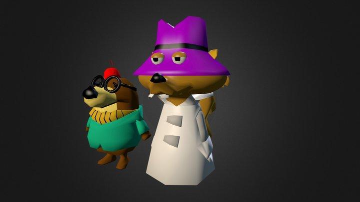 Secret Squirrel & Morocco Mole 3D Model