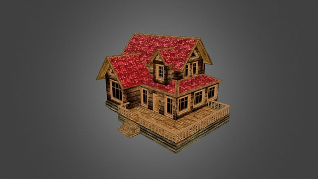 Low poly house in slavonic style 3D Model