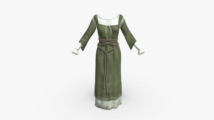 Medieval Peasant Linen Dress 3D Model
