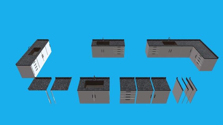 Modular Kitchen Sink - Game ready asset 3D Model
