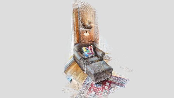 Leather Chair and Embroidered Pillow - SiteScape 3D Model