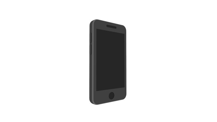 Mobile Phone Low Poly Flat Icon Style 3D Model