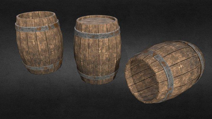 3D modular Barrels - Low Poly. 3D Model