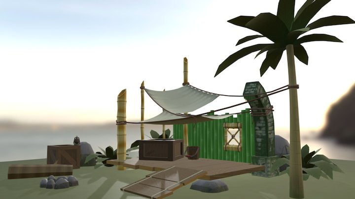 Tiki Hut Model 3D Model