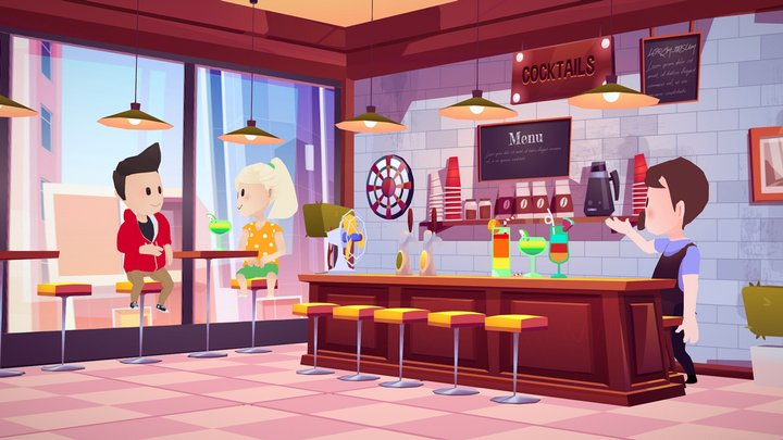 Bar store coffee shop interior lowpoly🍹🍸 3D Model