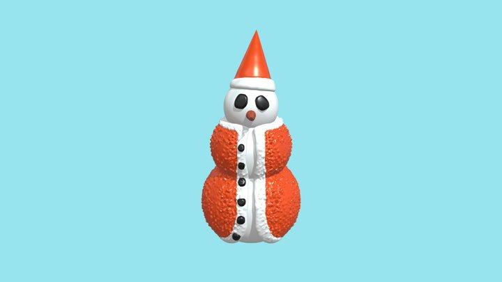 Orange Snowman 3D Model