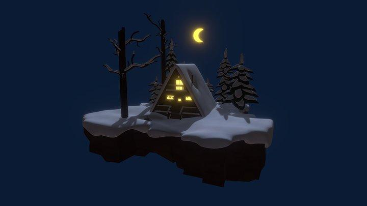 Winter cabin in the woods 3D Model
