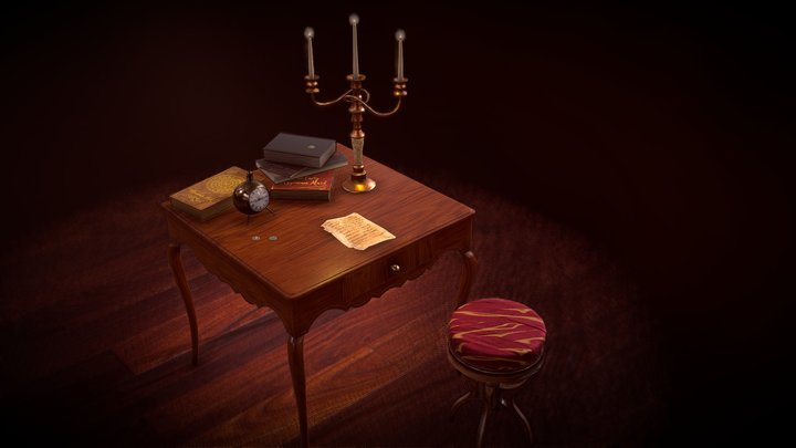 Small Antique Table Asset 3D Model