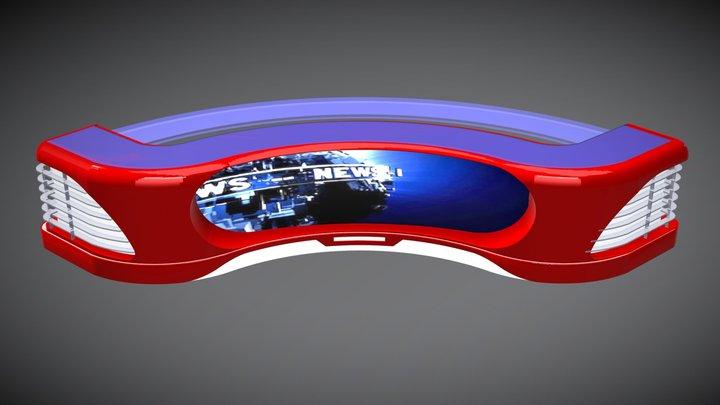 Virtual TV Studio News Desk 1 3D Model