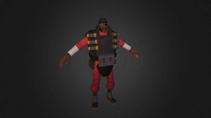TF2 Demoman Low-Poly Character 3D Model