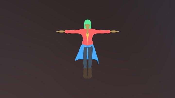 Girl T-pose NPR 3D Model