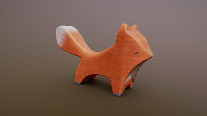 Wooden Fox Kit Figure 3D Model