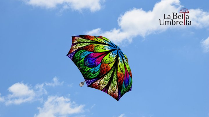 Floral Stained Glass Umbrella - Manual 3D Model