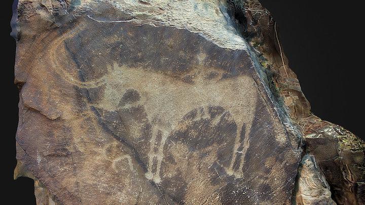 Tamgaly bull horse petroglyph, Kazakhstan 3D Model