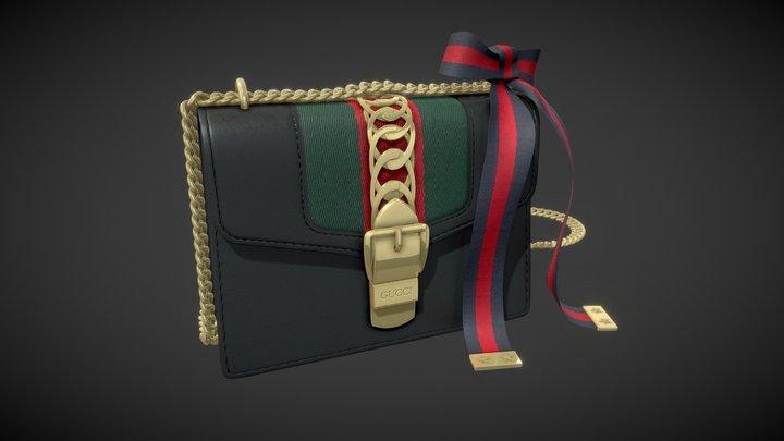 Gucci Sylvie Leather Mini Chain Bag 3d model 3D Model