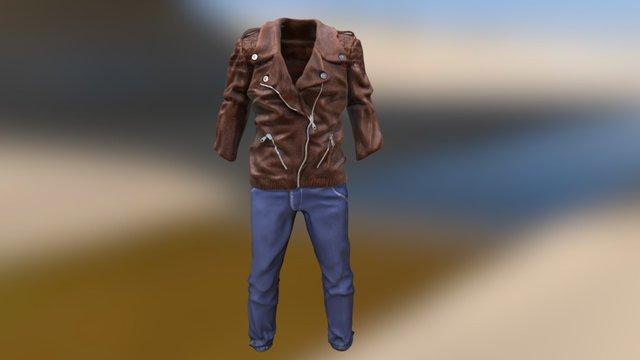 Biker Jacket and Jean Pants 3D Model